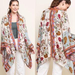 JUSTIN Floral Print Kimono - NATURAL